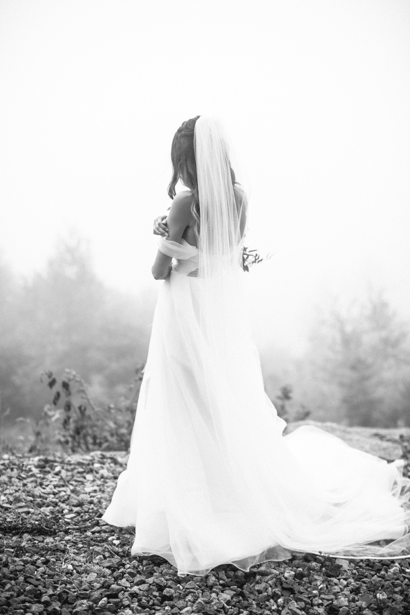 foggy maine wedding in the mountains
