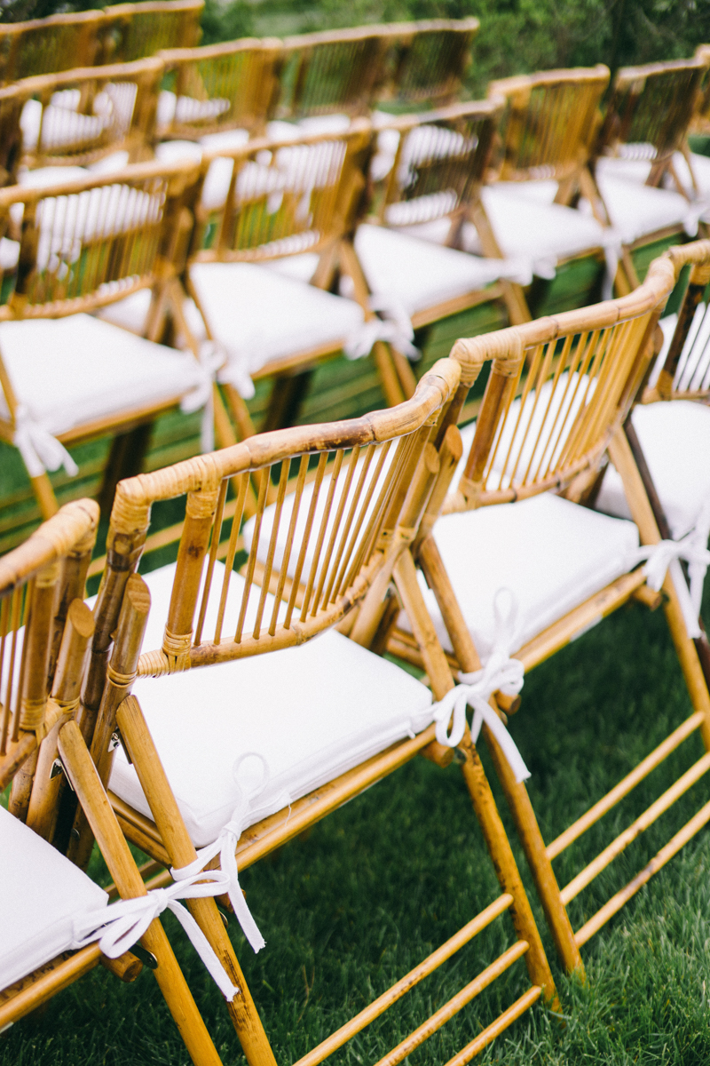rattan chairs at maine wedding