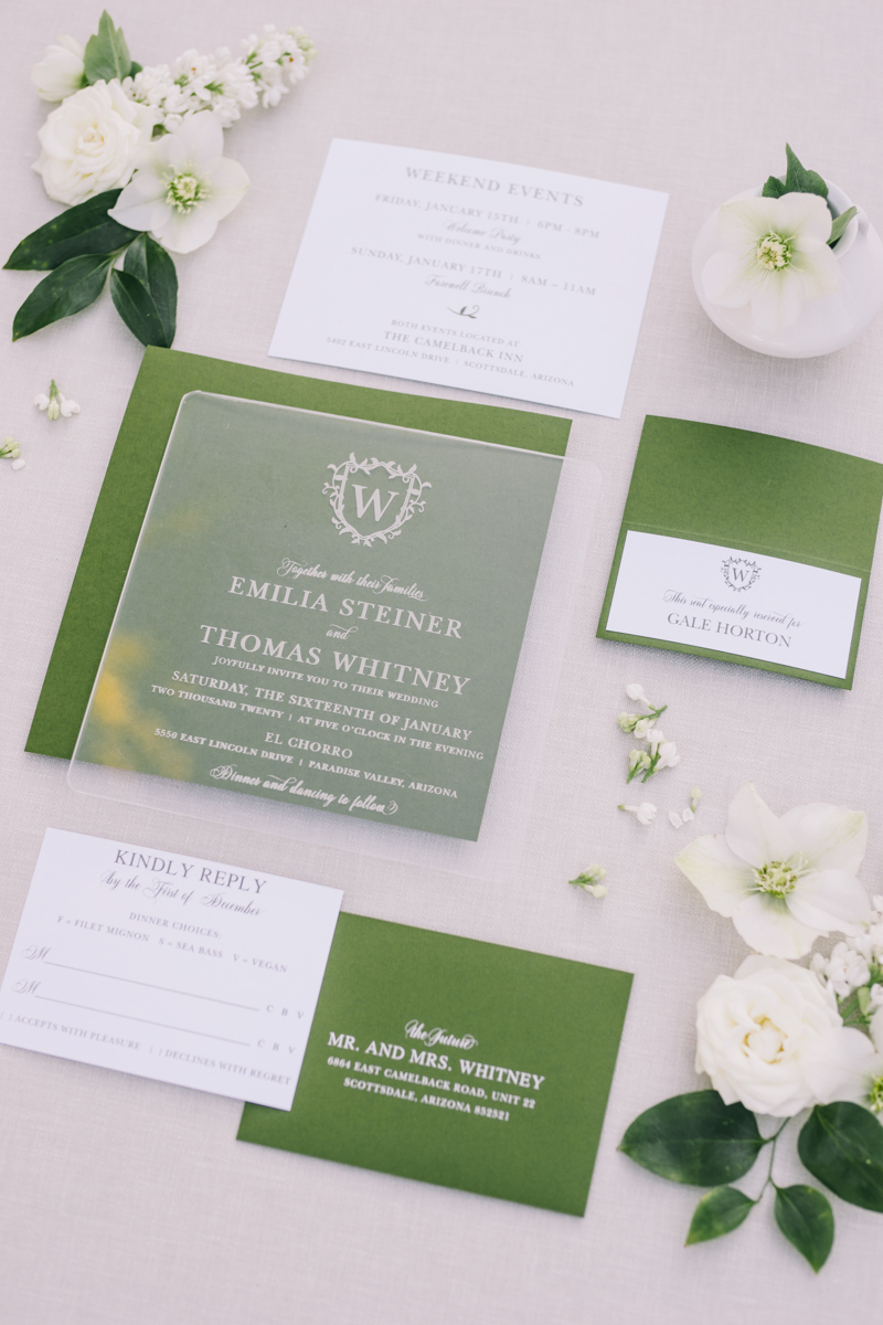 green and white lucite acrylic invitation suite