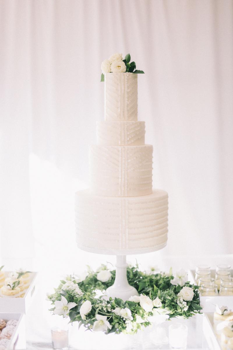 sequined white wedding cake from Ruze Cake Shop Scottsdale Arizona