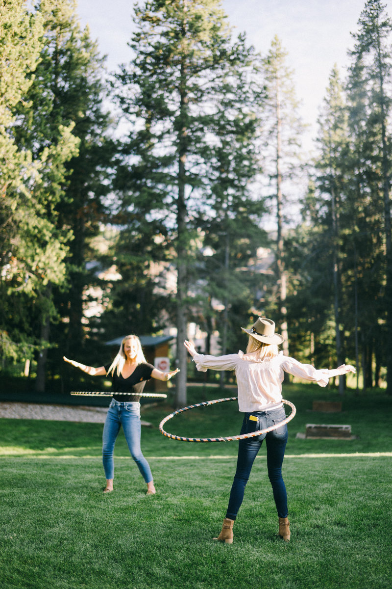 hula hoop competition at welcome dinner big sky montana