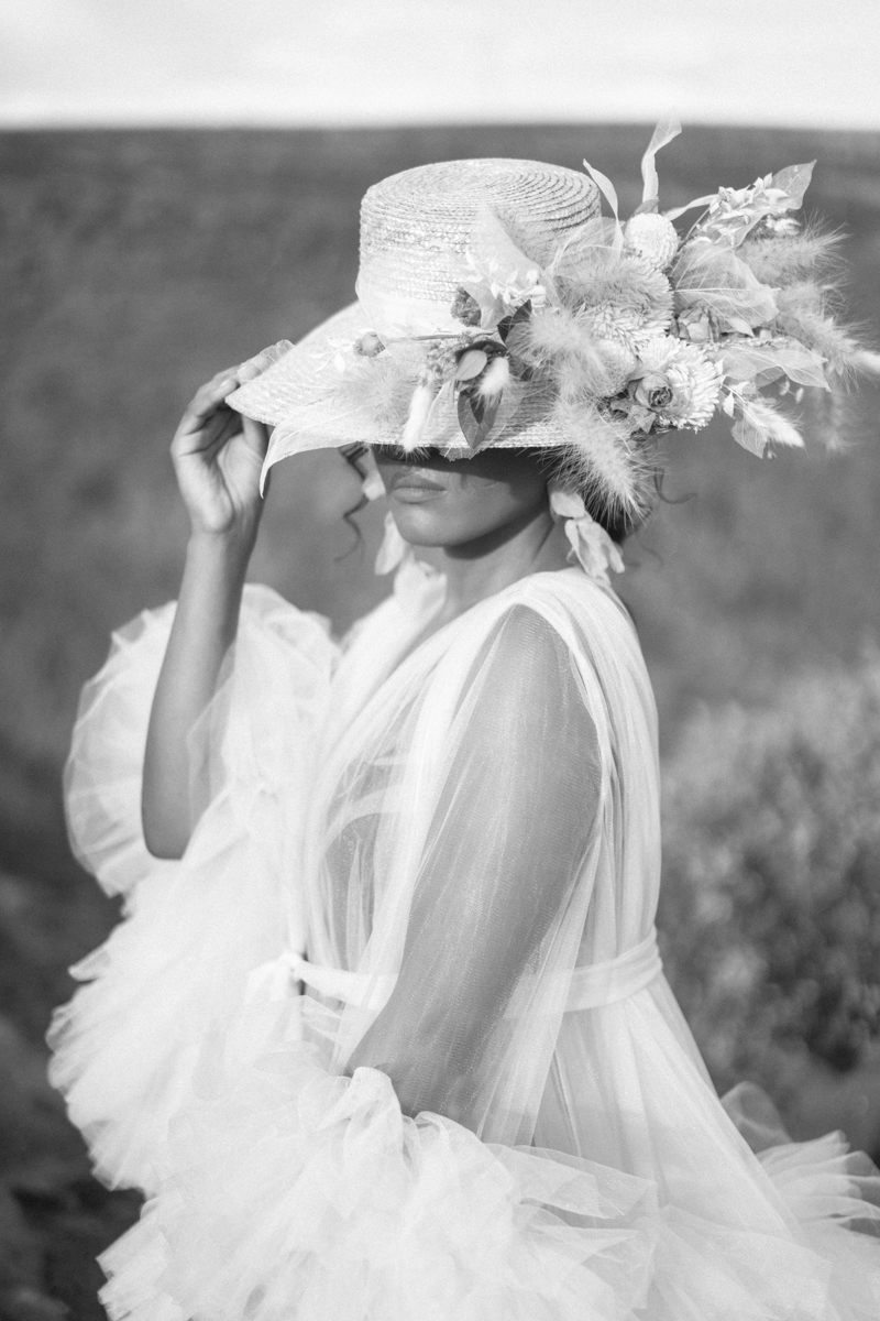 flower hat editorial arizona shoot