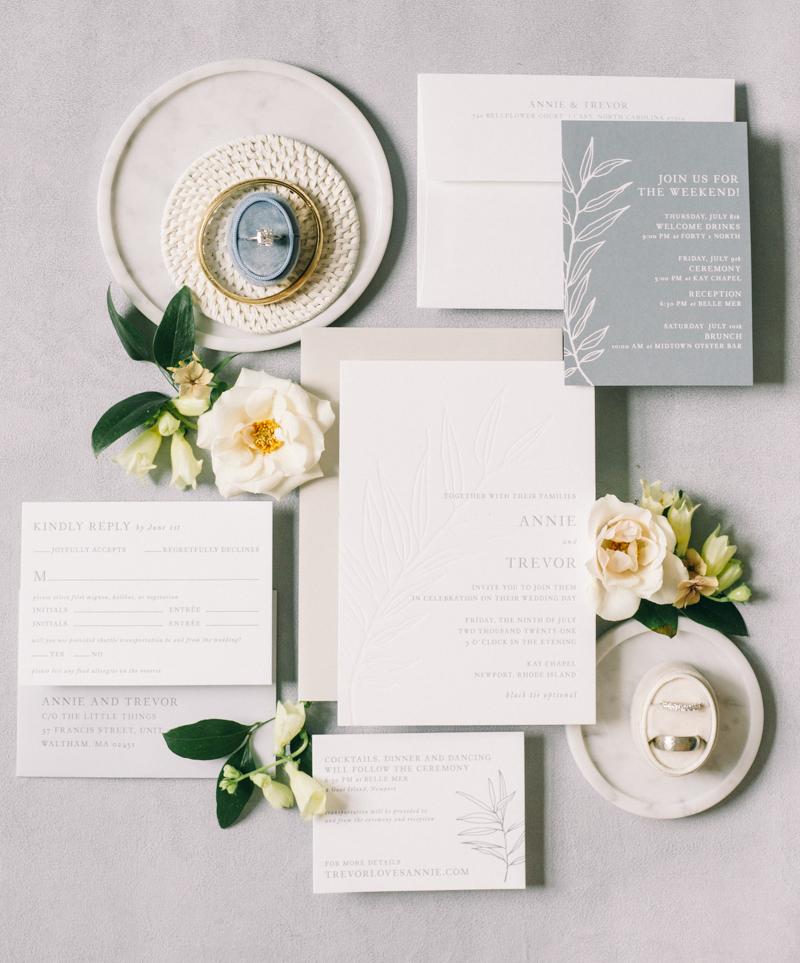 seaside flat lay wedding details