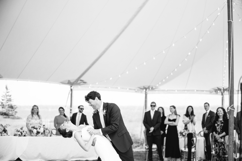 maine island tented wedding reception